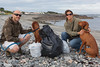 Jockathon and Rachel Pettitt doing voluntary beach cleaning on Belle Greve Bay on 14 June 2013