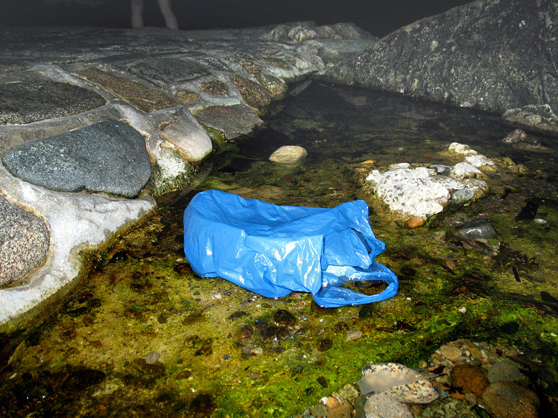 Blue plastic bag on the sea shore at La Valette on Guernsey's east coast on 8th July 2007