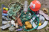 Litter collected from Pecqueries sea shore on Guernsey's north-west coast on the 22nd May 2021
