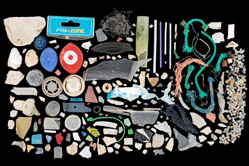 Small plastic pieces and nurdles collected from Petit Port beach on the 19th October 2020