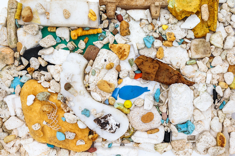 Polystyrene and foam pieces from a litter pick at Pleinmont on Guernsey south-west coast on 22 February 2018