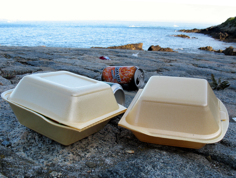 Food packaging litter left by visitors to La Valette bathing pools on Guernsey's east coast