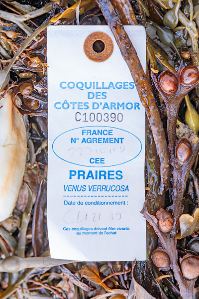 French shellfish tag washed up at Petit Port on Guernsey's south coast on 12th January 2020