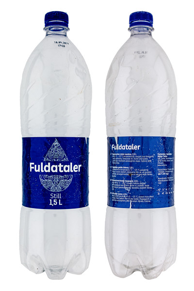 Fuldataler plastic water bottle originating in Lithuania washed up on the Guernsey sea shore