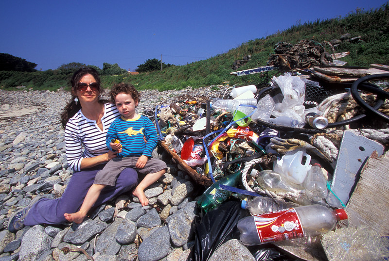 Beach litter collected at Champ Rouget, Chouet, Guernsey on World Ocean Day 8th June 2007