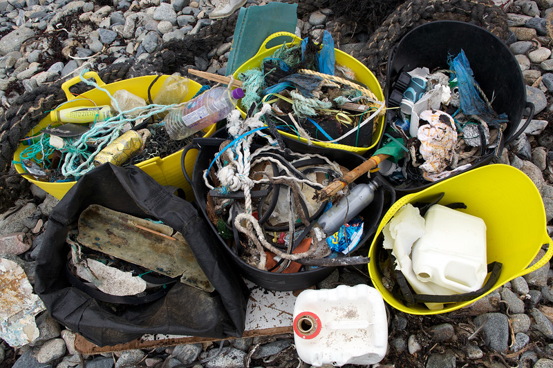 Sea shore litter collected from Champ Rouget, Chouet on Guernsey's north west coast on 6th June 2009