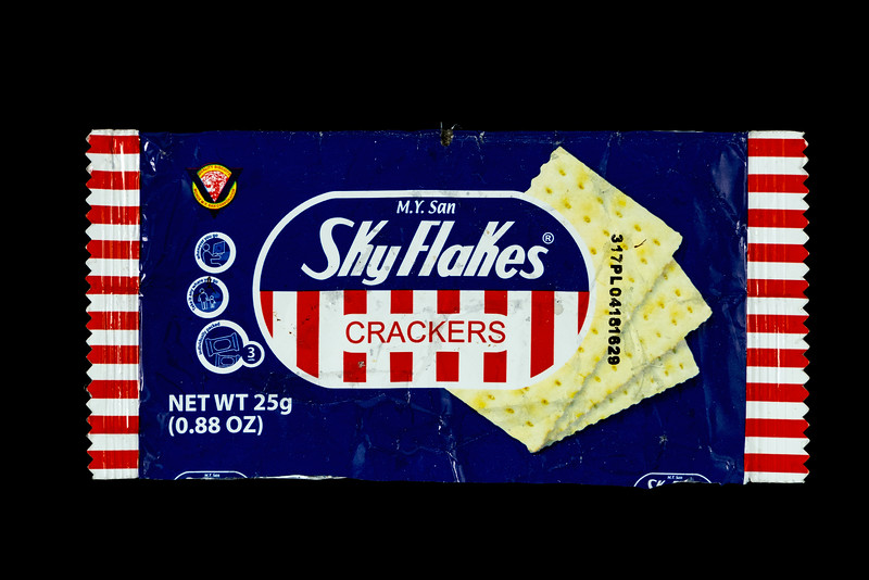 M.Y. San Sky Flakes crackers wrapper collected from Petit Port on Guernsey's south coast on the 22nd December 2019