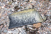 A large black plastic piece of broken fish box washed up at Petit Port on Guernsey's south coast on  26th February 2020