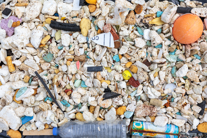 Litter collected from the Pleinmont sea shore on Guernsey's south-west coast on 28th April 2018