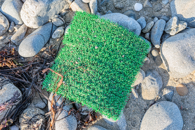 Artificial turf washed up on the sea shore at Portinfer on Guernsey's west coast and removed on 7 September 2019
