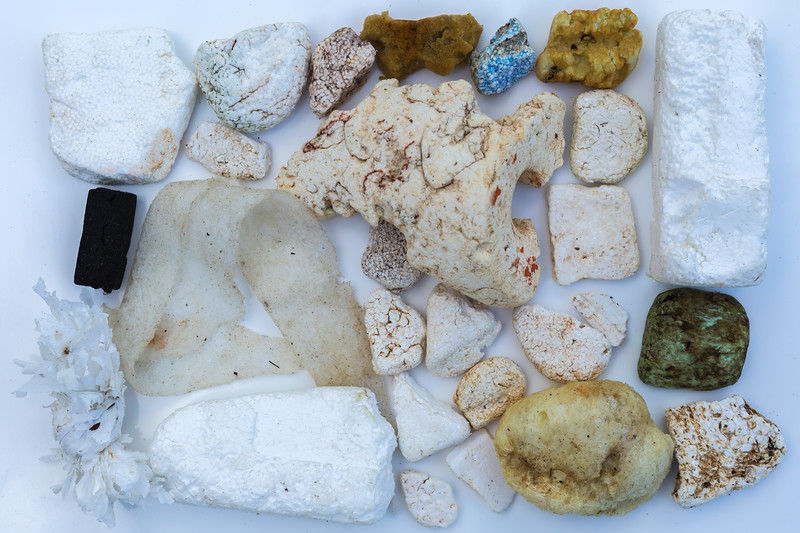 Styrofoam and foam pieces collected from Petit Port, Guernsey on 12 January 2016