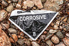 Label for container of corrosive substance washed up at Petit Port on Guernsey's south coast on 4th October 2020