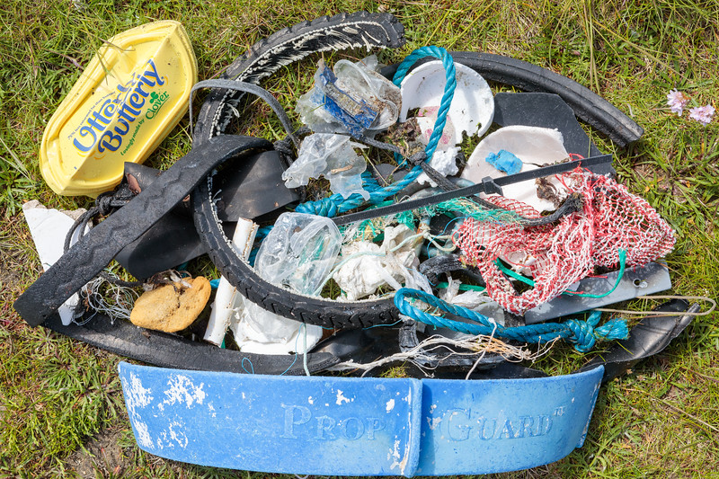 Litter items collected from small pebble beach at Champ Rouget, Chouet on Guernsey's north coast on 13 May 2018