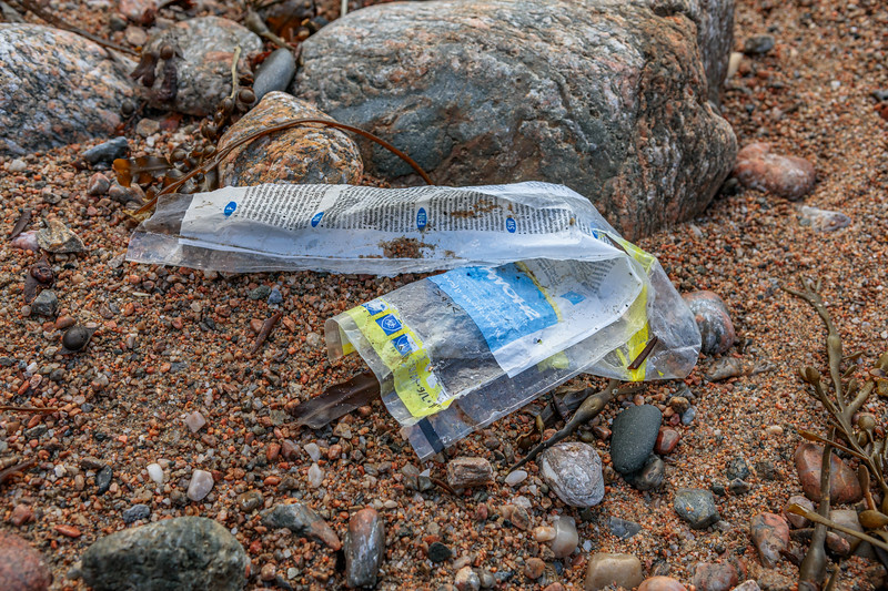 Plastic wrapper for Showa gloves washed up at Petit Port on Guernsey's south coast on 28th November 2019