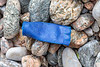 Plastic shotgun cartridge cases are a frequent litter item on the Guernsey sea shore