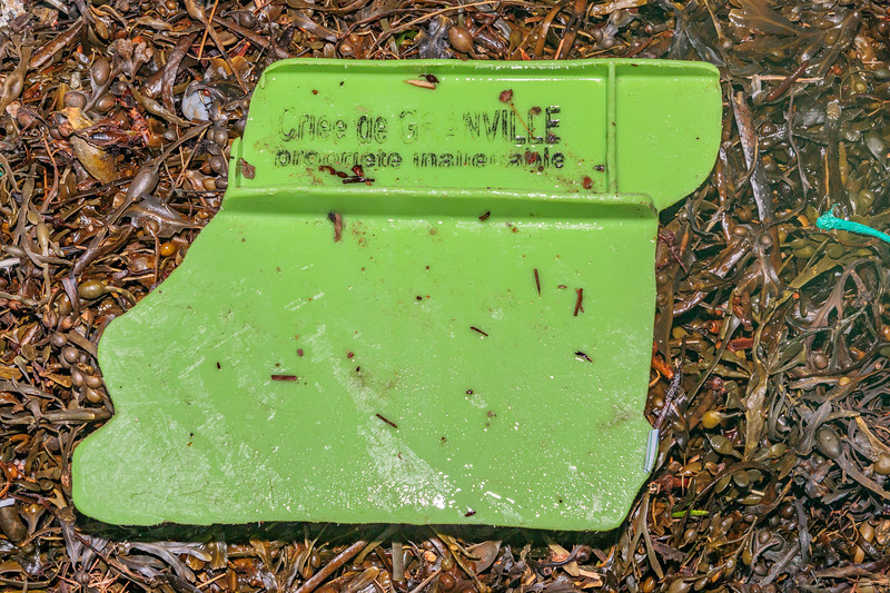 A piece of a Criée de Granville fish box washed up at Petit Port on Guernsey's south coast on 17th November 2020