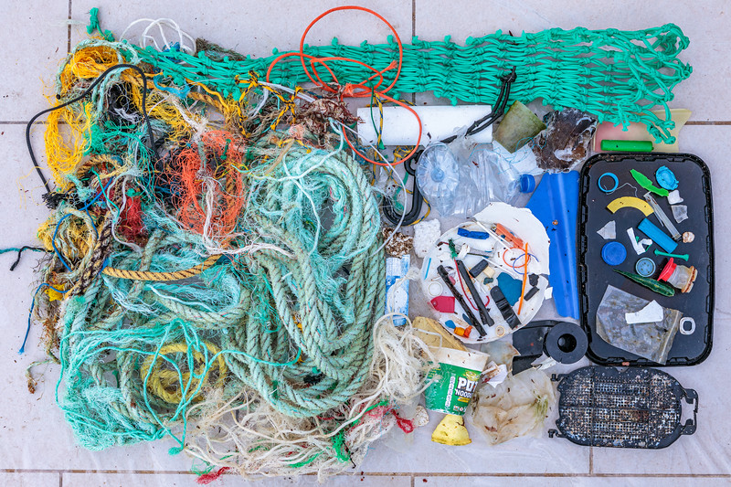 Litter collected at Petit Port on Guernsey's south coast on 2nd February 2020