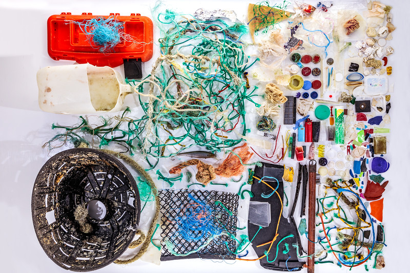 Marine litter collected at Petit Port on Guernsey's south coast on 8 December 2018