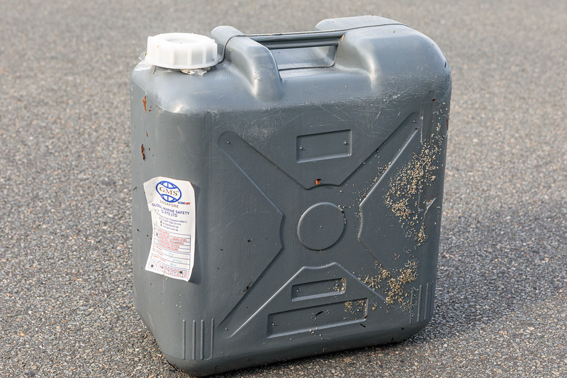 AFFF container (firefighting foam) found by Wayne Branquet at L'Eree on Guernsey west coast on 8th October 2020