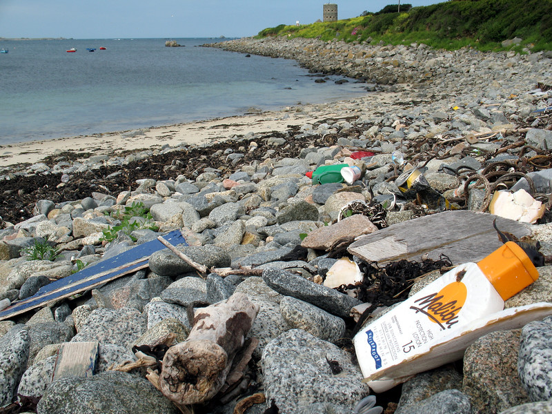 Washed up litter on the shore at Champ Rouget, Chouet, Guernsey before collection on 5th June 2007