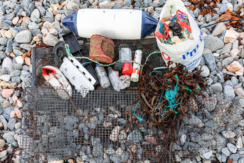 Some of the marine litter collected from the Belle Greve Bay sea shore on Guernsey's east coast on 24 November 2018
