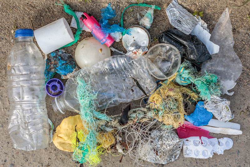 Litter collected from the sea shore at Champ Rouget, Chouet on Guernsey's north coast on 26 April 2018