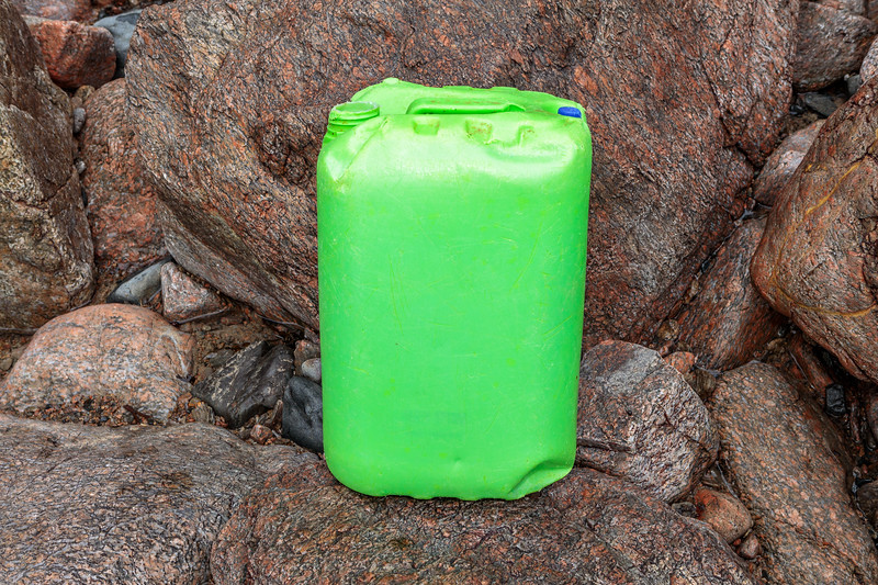 A plastic jerry can washed up in the rocky ravine to west of Petit Port on Guernsey's south coast on 11th January 2020