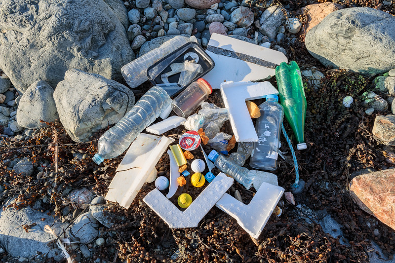 Sea shore litter collected at Pleinmont on Guernsey's south-west tip on 6 October 2017