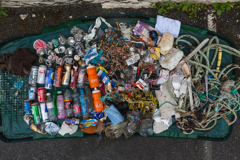 Litter collected from the sea shore of Belle Greve Bay on 12th May 2013