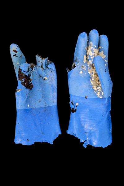 Brittle rubber gloves found separately at Portinfer on Guernsey's west coast on 9th December 2019