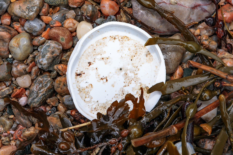 White, plastic cap washed up at Petit Port on Guernsey's south coast on  15th February 2020