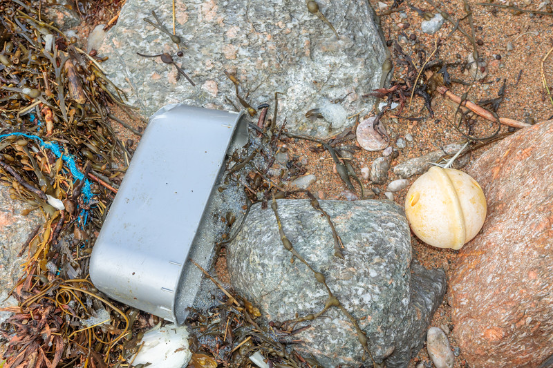 Fishing float and plastic container washed up at Petit Port on Guernsey's south coast on 17th February 2020