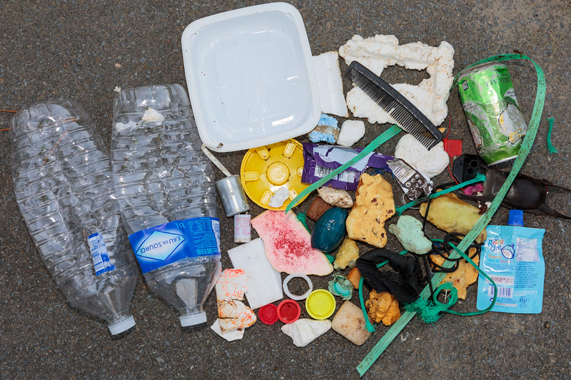 Sea borne litter collected from Petit Port bay on Guernsey's south coast on 16 October 2017