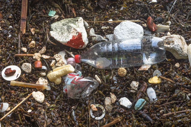 Litter washed into a cave at Petit Port on Guernsey's south coast on 15th December 2020