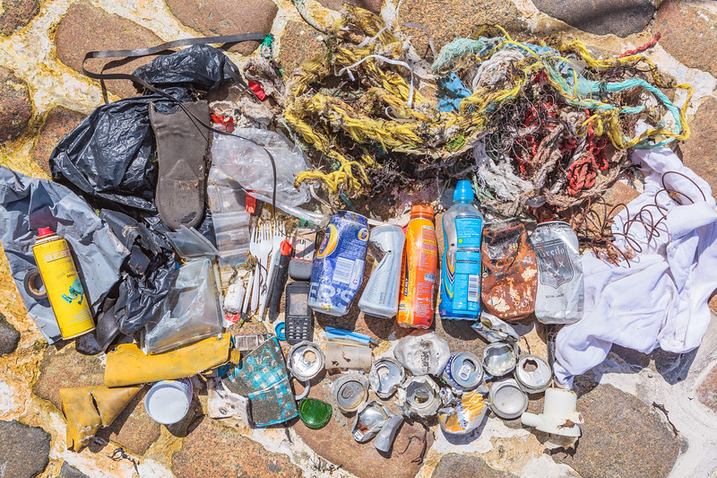 Litter collected from Belle Greve Bay, Guernsey on 15 June 2013