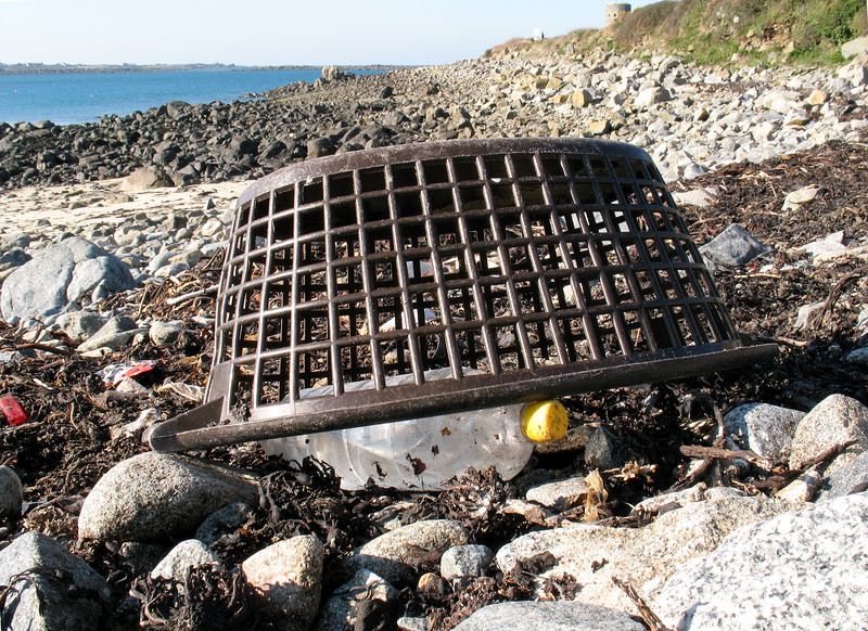 Plastic basket and plastic bottle on the sea shore at Champ Rouget, Guernsey