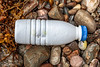 White plastic bottle washed up at Petit Port on Guernsey's south coast on 4th July 2020