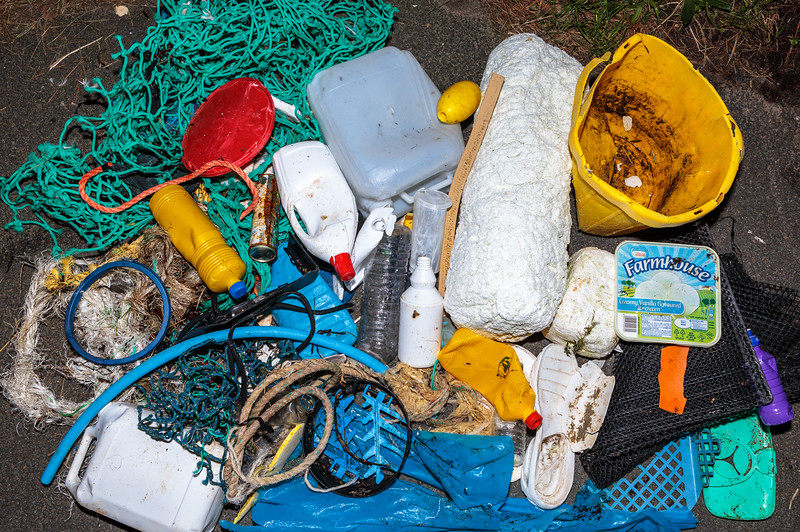 Marine litter washed up and accumulating at Petit Port on Guernsey's south coast