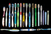 A few of the plastic toothbrushes collected from Petit Port on Guernsey's south coast
