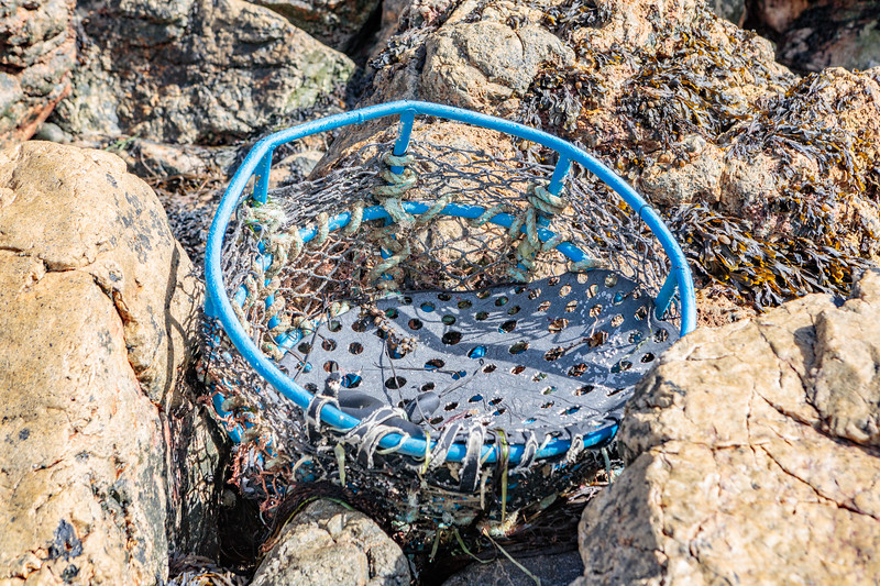 Broken inkwell crab pot at Petit Port on Guernsey's south coast removed on 21 September 2018