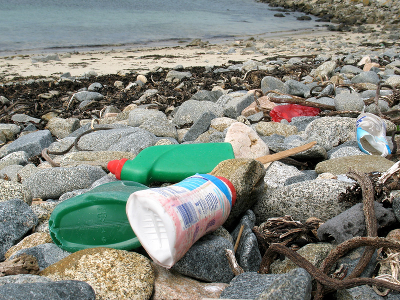 Plastic litter on the sea shore at Champ Rouget, Chouet on 5 June 2007