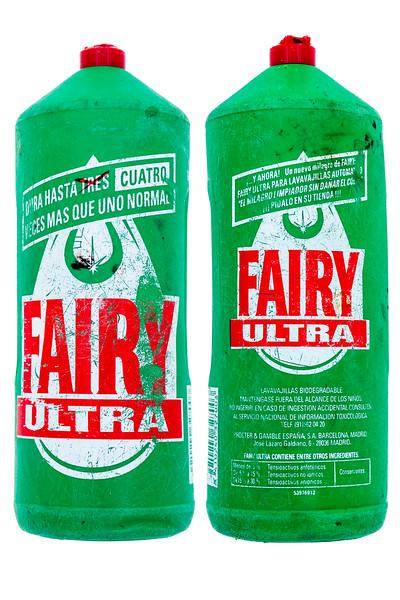 Fairy Ultra plastic bottle Petit Port beach clean litter 1978-Edit