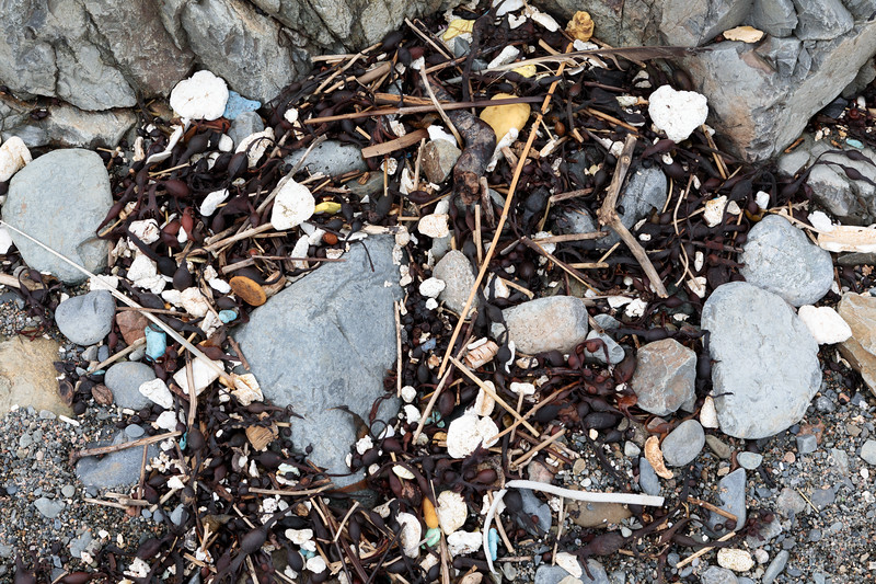 Polystyrene litter on the sea shore at Pleinmont on Guernsey's south-west coast on 28th April 2018