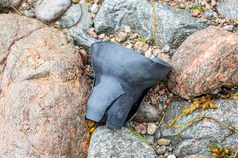Black plastic cone  washed up at Petit Port on Guernsey's south coast on 1st July 2020