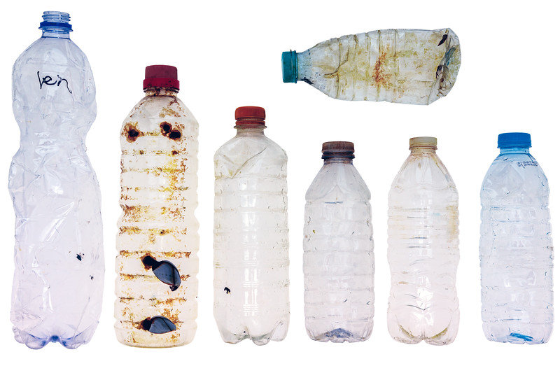 Plastic bottles found on the shore at Petit Port on 30 January 2018