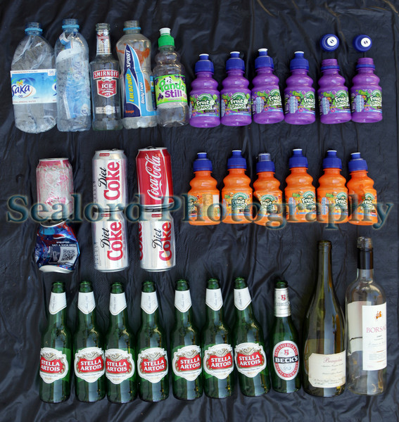 Plastic bottles and one glass bottle found on the sea shore at La Valette on 22 June 2009.