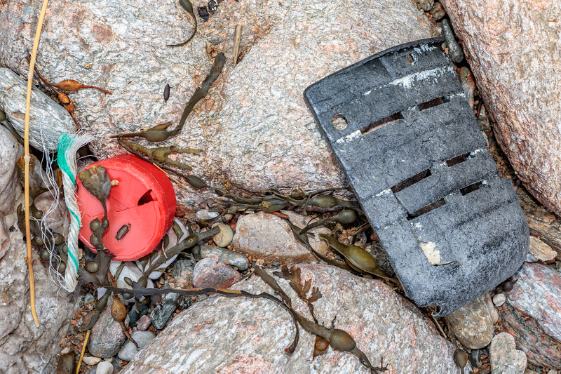 Sea shore litter including a piece of plastic from a whelk pot at Petit Port on 26th February 2020