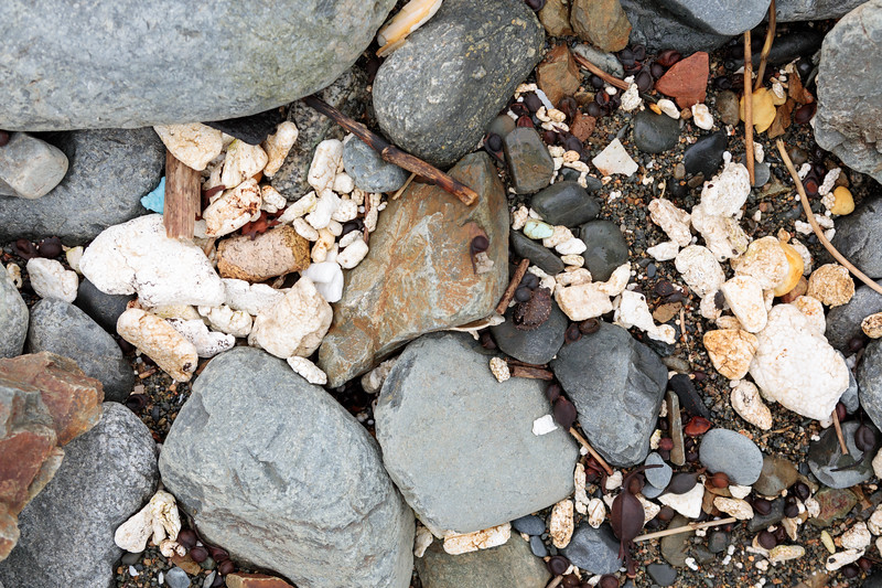 Polystyrene and foam pieces on the shore at Pleinmont on Guernsey's on south-west coast on 28th April 2018