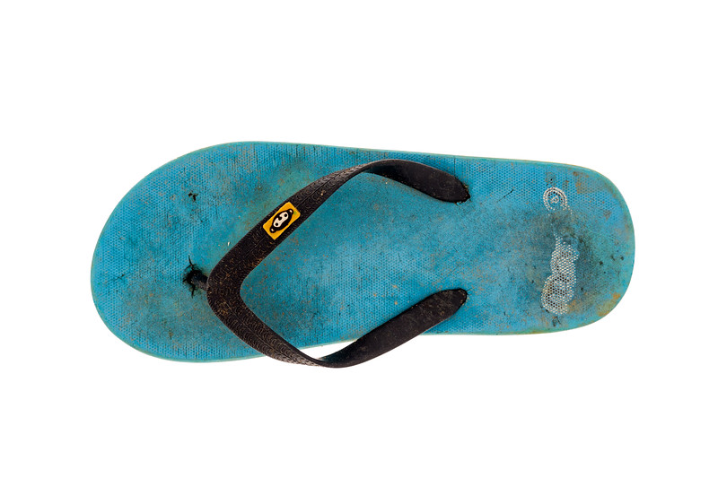 Flip-flops are a common litter item on the Guernsey shore.
