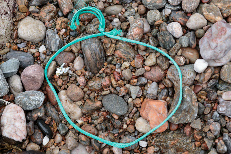 Polypropylene twine washed up at Petit Port on Guernsey's south coast on 6th February 2016